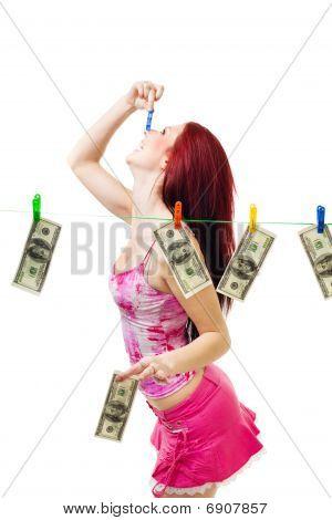 Happy Woman Wash Us Dollars