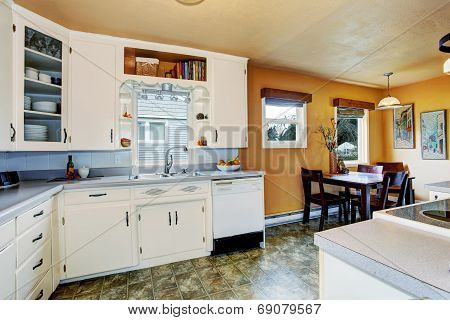 Kitchen Room With Dining Area In Old House