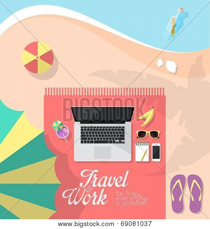 Workspace of freelancer who is working while traveling