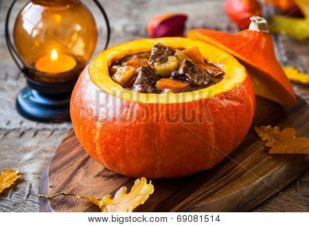 Beef stew with vegetables  in pumpkin