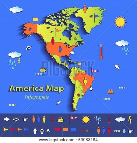 America map infographic political map blue green card paper 3D vector individual states separate poster