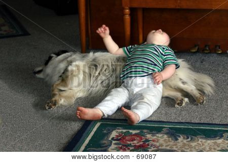 poster of child laying on a dog