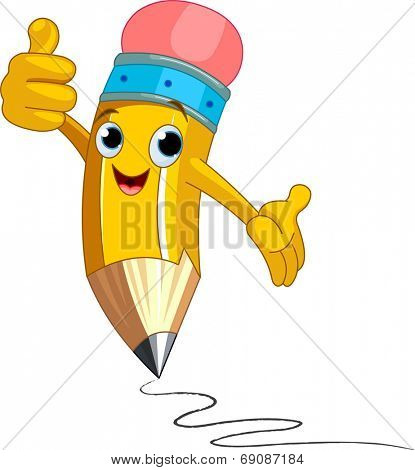 Illustration of a Pencil Character giving thumbs up. Raster version.