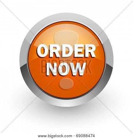 order now orange glossy web icon
