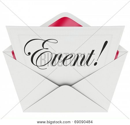 Event word in cursive script writing on a formal invitation asking you to attend a special
