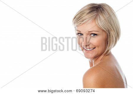 Attractive Aged Lady Posing To Camera