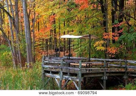Picnic table on a wooden deck in autumn time