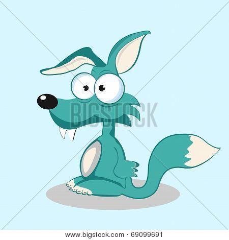 Stock funny fox with bulging eyes eps