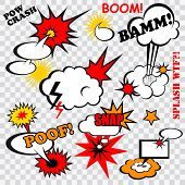 Boom comic bubbles snap humor fun template design for superhero book vector illustration poster