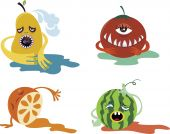 four cute fruit monster character pattern design. poster