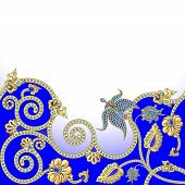 illustration background with flowers of gold and precious stones poster