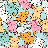 Seamless kawaii cartoon pattern with cute cats. poster