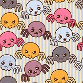 Seamless kawaii cartoon pattern with cute spiders. poster