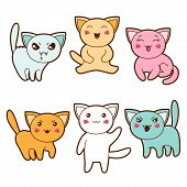 Set of kawaii cats with different facial expressions. poster