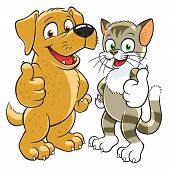Happy cartoon kitten and pup gesturing thumbs up. poster