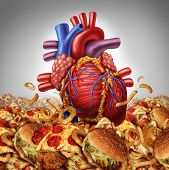 Heart disease risk symbol and health care and nutrition concept as a human cardiovascular organ drowning in an ocean of greasy high salt unhealthy fast food as a symbol dangerouse artery clogging cholesterol crisis. poster