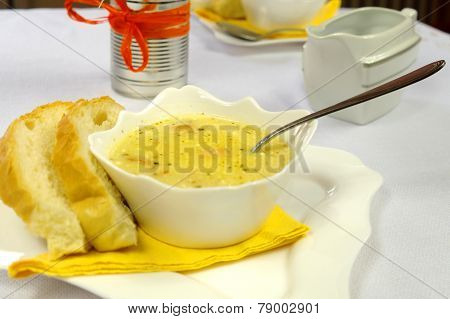 Cream Soup On The Table