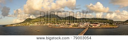 Panoramic view of the Caribbean island of St Kitts under the morning sun poster