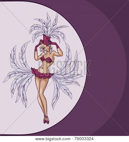 smiling cabaret or burlesque dancer posing