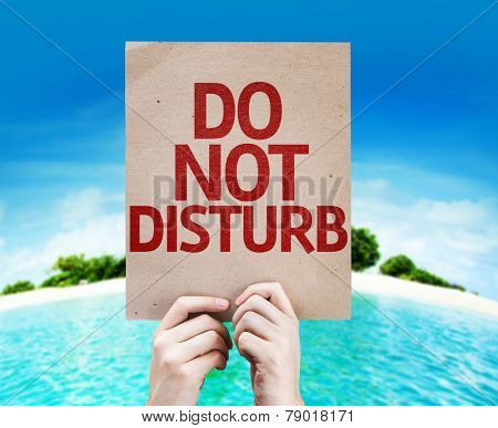 Do Not Disturb card with a beach on background
