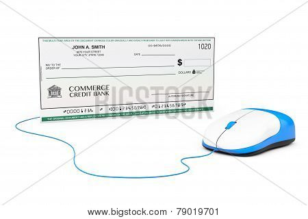 Banking Check Connected To Computer Mouse