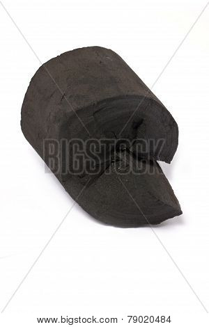 Charcoal Made Of Wood Isolated On White.