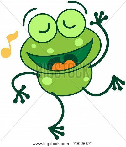 Green frog singing and dancing