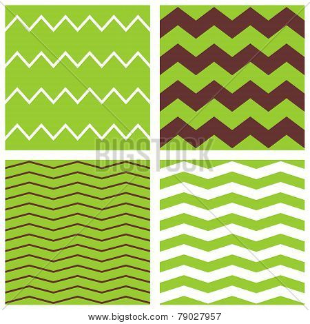 Tile chevron vector pattern set with brown, green and white zig zag background for seamless decoration wallpaper poster