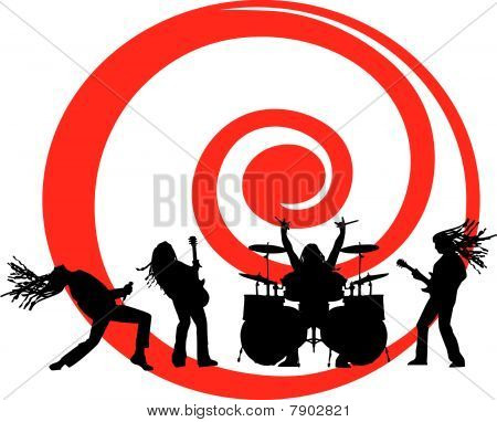 the vector musicians silhouette on red swirl