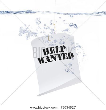 Help Wanted Sign on Fishing Hook