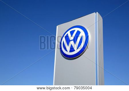 Sign Volkswagen Against Blue Sky
