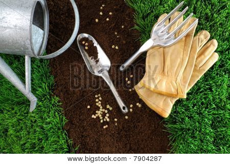 Assortment Of Garden Tools On Earth