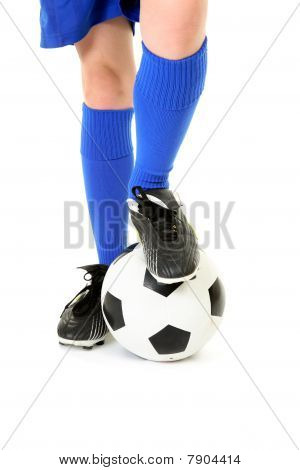 Boy With Foot On Soccer Ball