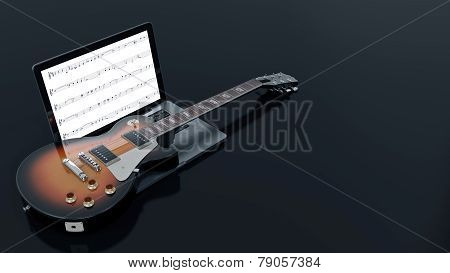 computer with electric guitar