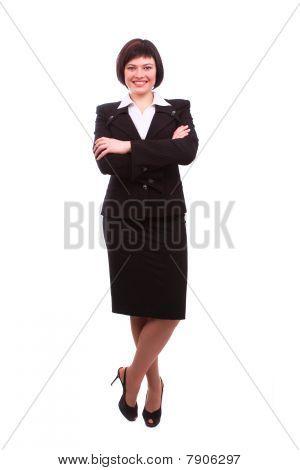Brunette Businesswoman Dressed In Black Suit.