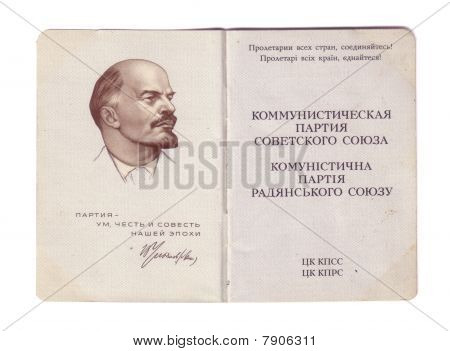 Soviet communist party membership card open