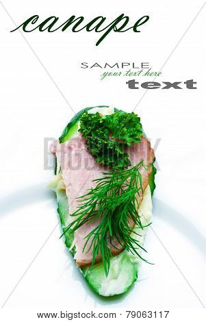 Closeup of delicious ham and cucumber canapes sandwiches with parsley with easy removable text. Vertical composition.