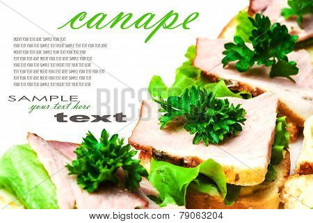 Closeup of delicious ham and salad canapes sandwiches with parsley lying on a white plate with easy removable text. Horizontal.
