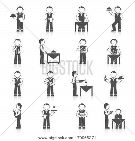Waiter man with dish tray menu icon black set isolated vector illustration poster