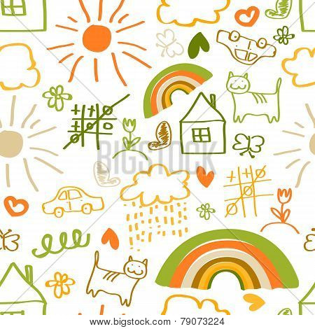 Children drawing seamless pattern