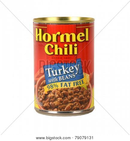 Los Angeles,California Dec 9th 2014:  Nice isolated Image of a can of Hormel Chili Turkey and beans Chili