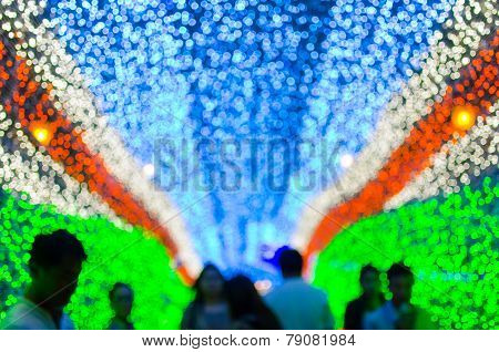 New Year And Christmas Fastival Led Light Cave Background . Elegant Texture With Blurred De Focused