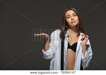 Sexy young Caucasian brunette woman