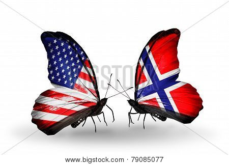 Two Butterflies With Flags On Wings As Symbol Of Relations Usa And Norway