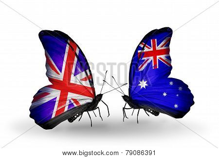Two Butterflies With Flags On Wings As Symbol Of Relations Uk And Australia
