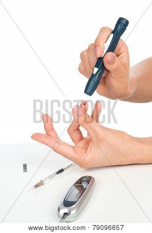 Diabetes Diabetic Concept Finger Prick For Glucose Sugar Measuring Level Blood Test