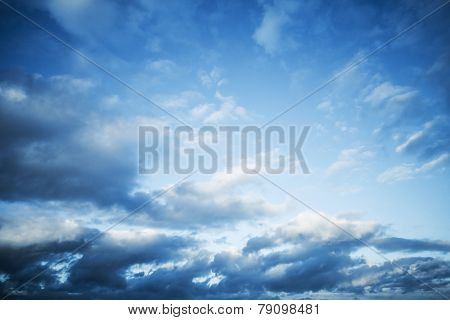 Dark Blue Sky With Clouds, Abstract Photo Background
