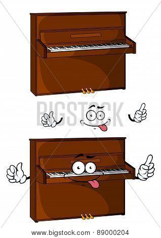Cartoon brown wooden piano character
