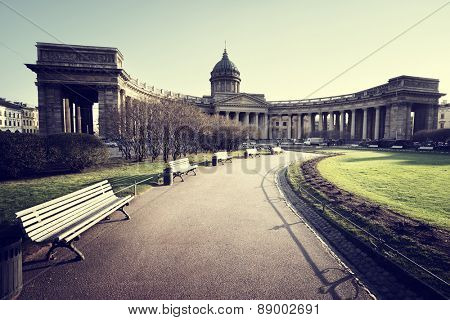 Kazan Cathedral in sunset time, St. Petersburg, Russia