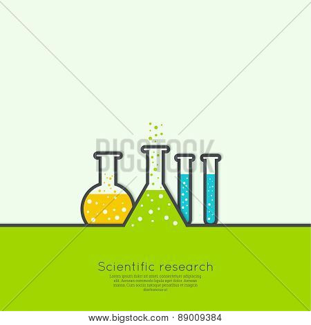 The concept of chemical science research lab retorts, beakers, flasks and other equipment. Biological and scientific tests. discovery  new technologies poster